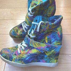 Material girl sneaker wedges.